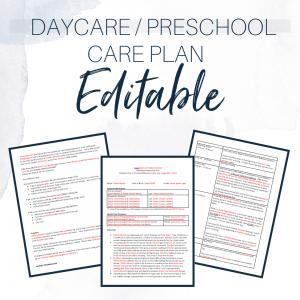 Daycare/Preschool Care Plan