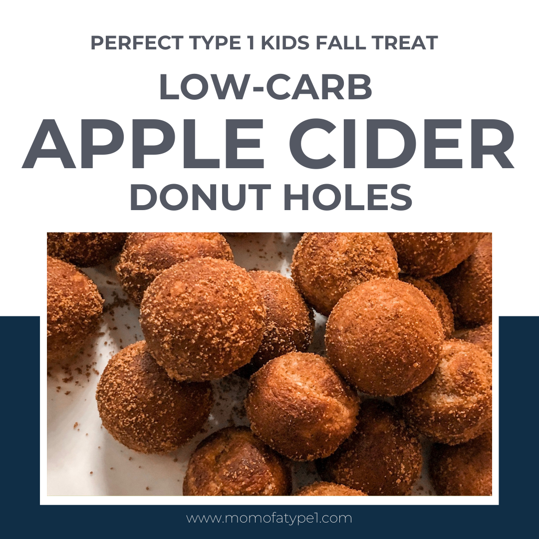 These low carb apple cider donut holes are great for breakfast, snack, or lunchbox treat for your type 1 diabetic kid.